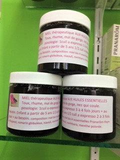 Miel bio thérapeutique aux H.E Toux,rhume,mal de gorge,nez qui coule.