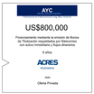 Fideicomiso de ACRES Titulizadora concreta financiamiento a 6 años por USD 800,000