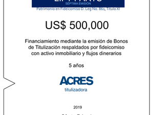 Fideicomiso de ACRES Titulizadora concreta financiamiento a 5 años
