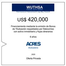 Fideicomiso de ACRES Titulizadora concreta financiamiento a 6 años por USD 420,000