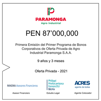 ACRES SAB colocó bonos de Agro Industrial Paramonga por S/ 87 millones