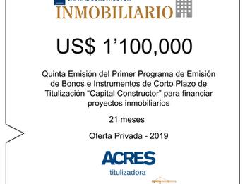 """Fondo de Inversión """"Capital Constructor"""" de ACRES SAFI financió proyecto inmobiliario por"""