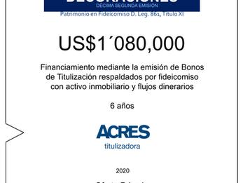 Fideicomiso de ACRES Titulizadora concreta financiamiento a 6 años por USD 1'080,000