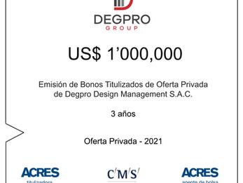 ACRES SAB colocó el bono de titulización para DEGPRO luego de adquirir Caral Edificaciones