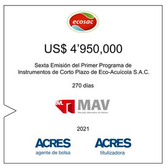ACRES Agente de Bolsa colocó nuevo financiamiento para ECOSAC en el Mercado Alternativo de Valores