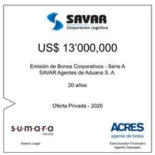 ACRES Agente de Bolsa colocó bonos corporativos de SAVAR por 13 millones de dólares