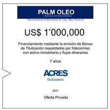 Fideicomiso de ACRES Titulizadora concreta financiamiento a 7 años por US$ 1' 000,000