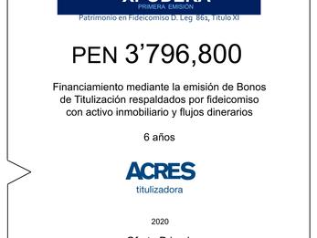 Fideicomiso de ACRES Titulizadora concreta financiamiento a 6 años por USD 3'796,800