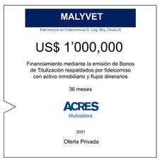 Fideicomiso de ACRES Titulizadora concreta financiamiento a 36 meses por US$ 1' 000,000
