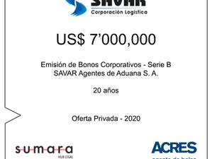 ACRES Agente de Bolsa colocó bonos corporativos de SAVAR por 7 millones de dólares
