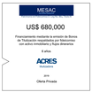 Fideicomiso de ACRES Titulizadora concreta financiamiento a 6 años por USD 680,000