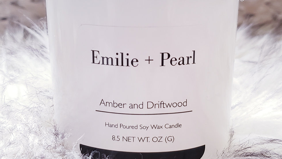 Amber and Driftwood Scented Candle