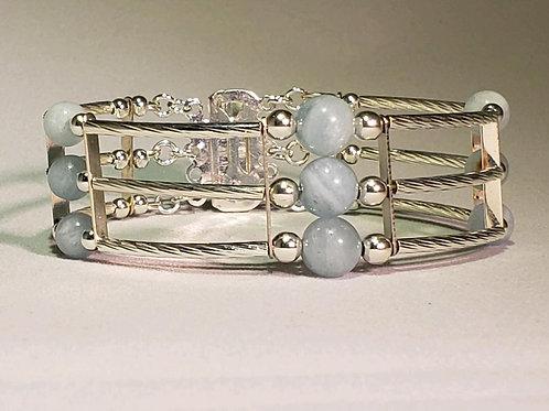 3 Strand Blue Beryl Bracelet