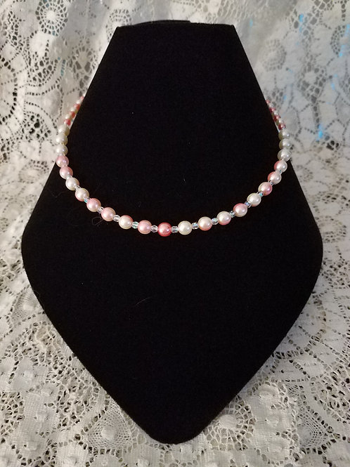 Czech Glass Pearl Necklace-Blush/Cream Variegated