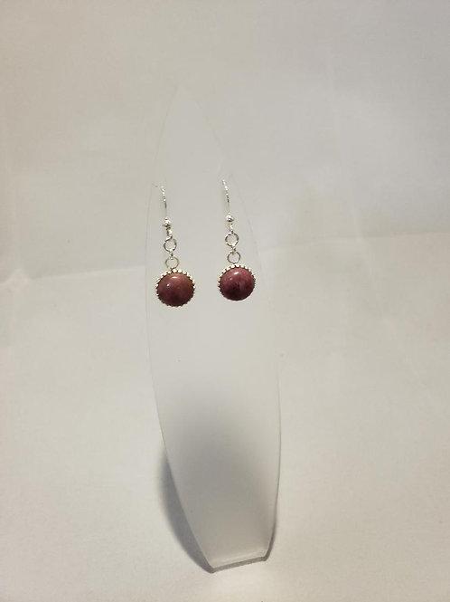 10mm Rhodonite Cabochon Dangle Earrings