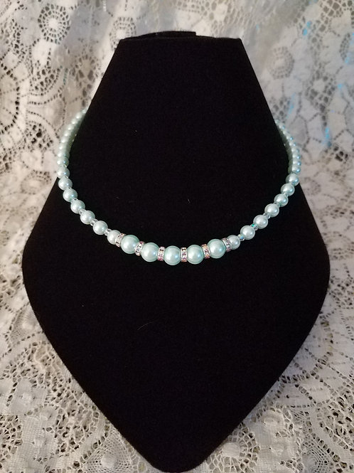 Czech Glass Pearl Necklace-Mint