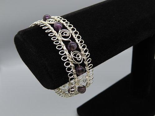 Gemstone & Wire Bangle Bracelet