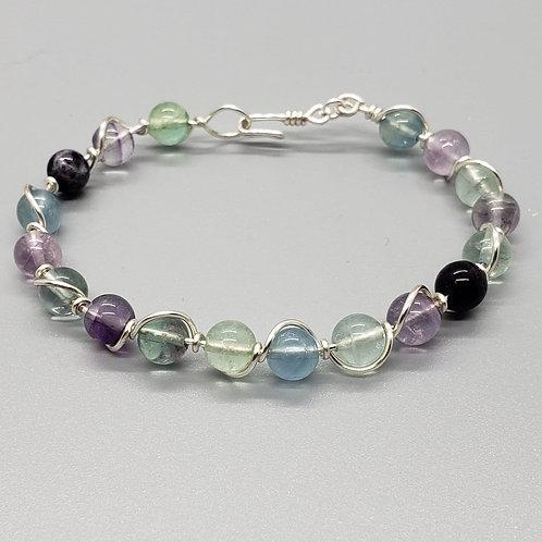 Fluorite Silver Wire Wrapped Bracelet