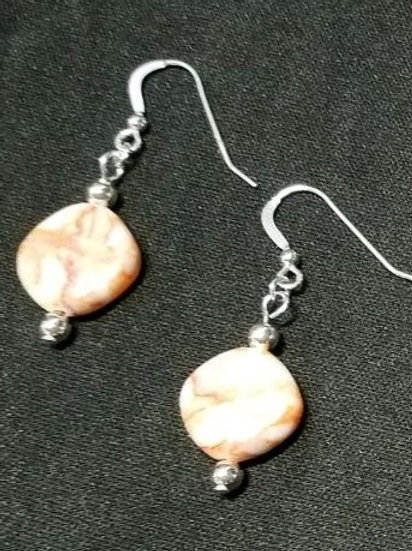 Red Line Marble Earrings