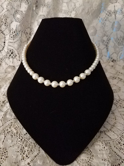 Czech Glass Pearl Necklace-Cream