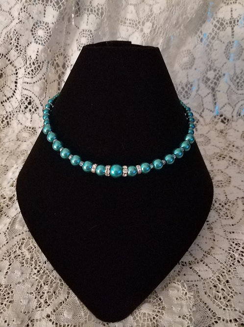 Czech Glass Pearl Necklace-Teal