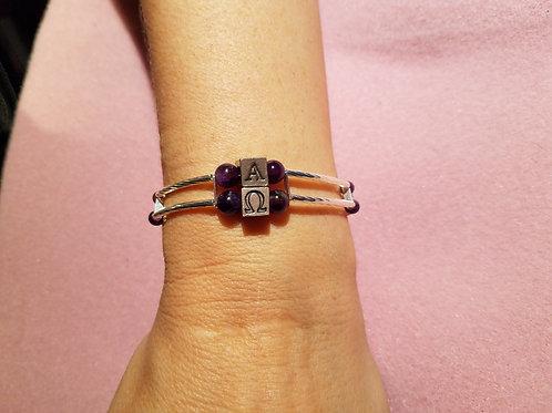 Amethyst Gemstone/Alpha & Omega Bracelet