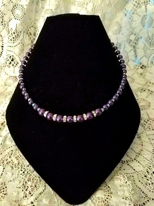 Czech Glass Pearl Necklace-Purple