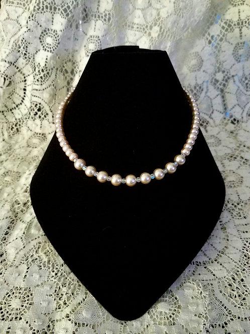 Czech Glass Pearl Necklace-Champane