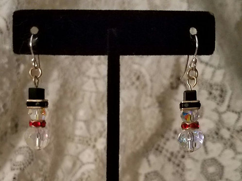 Swarovski Crystal Snowmen Earrings-Red or Green