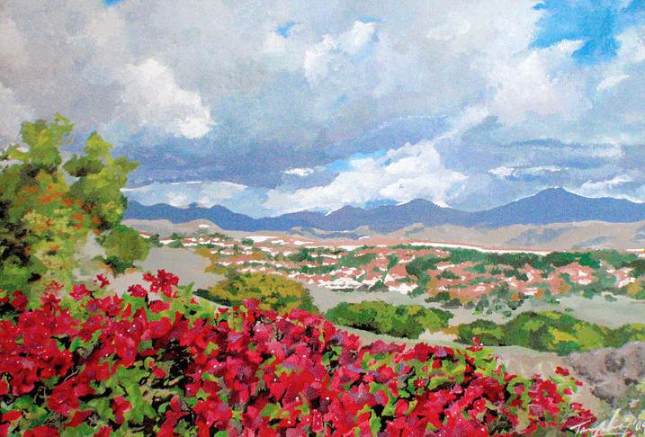 Saddleback Mountains - Tempera Painting Print