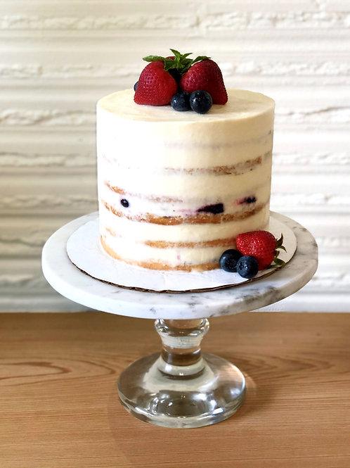 Vivacious Vanilla Cake with Mixed Berries