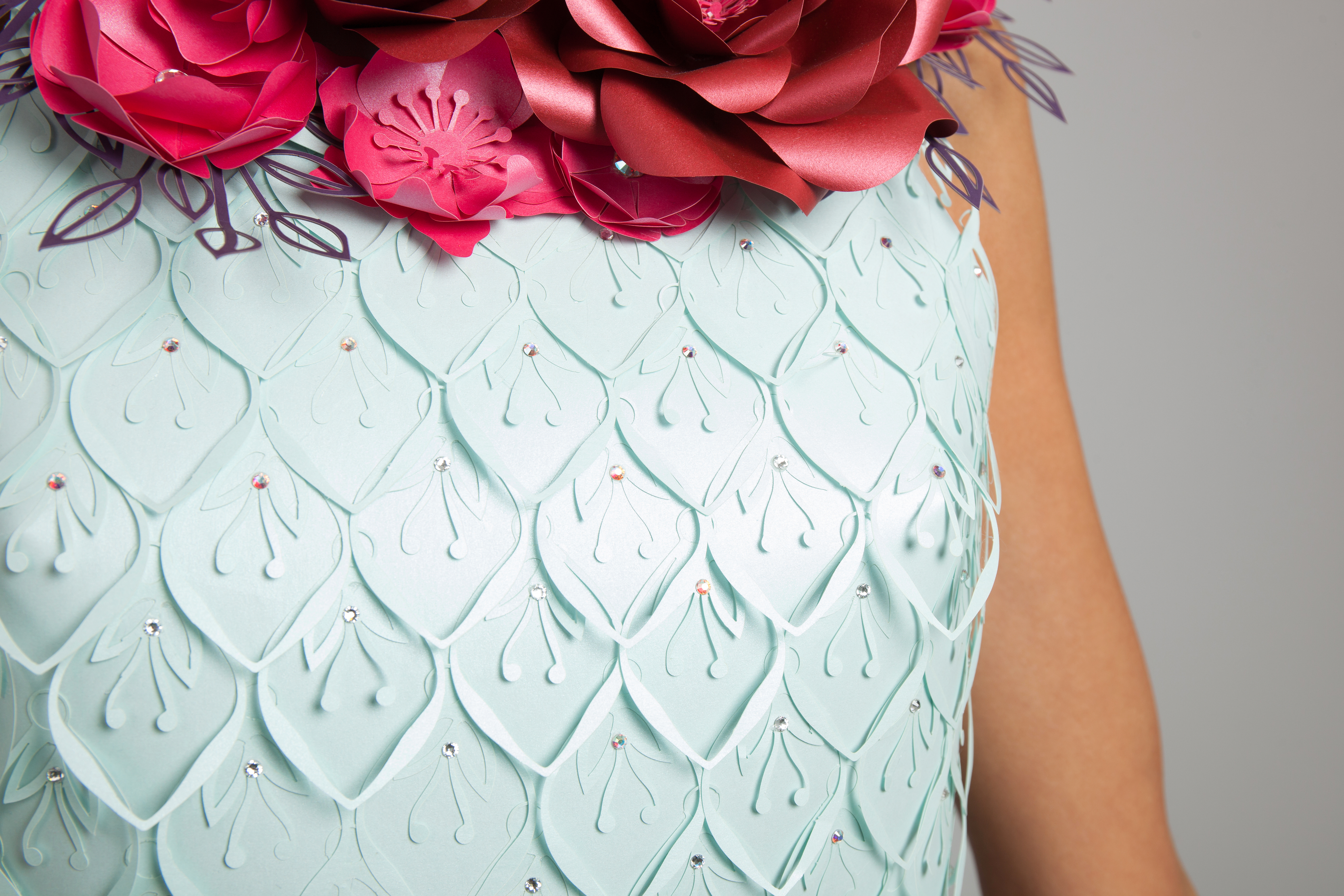 paper flowers dress details