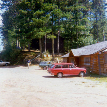 My Datsun 411 wagon in front of The Woodshed