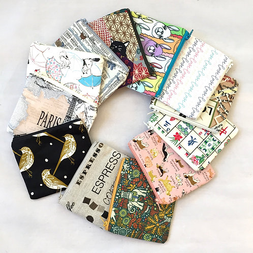 whimsical print handmade mini zip pouch change purse