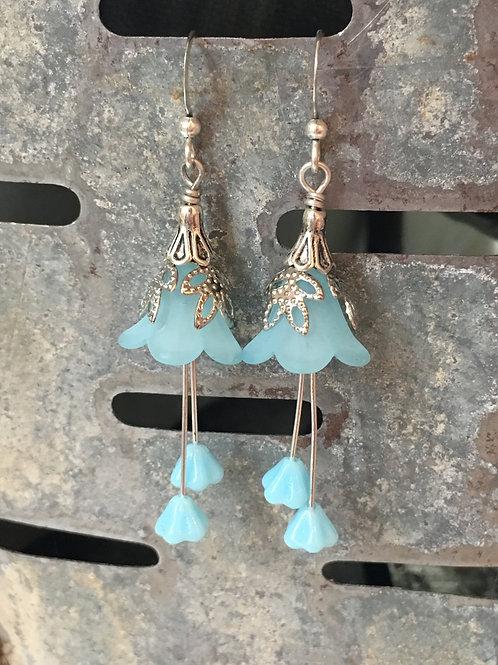 artist made blossoming light blue flower dangle earrings