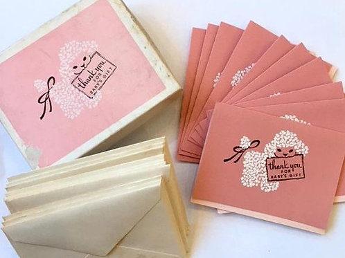 vintage 1950s mid century boxed unused thank you cards for baby girl