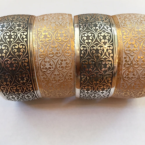 silver plated or white wash brass damask design cuff bracelet