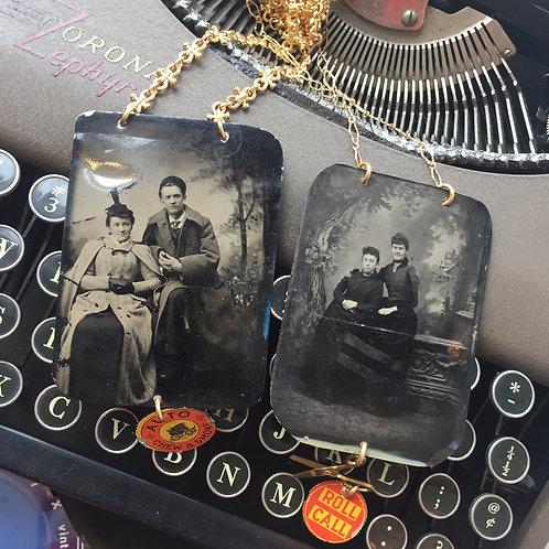 handmade vintage antique tin type photo necklace