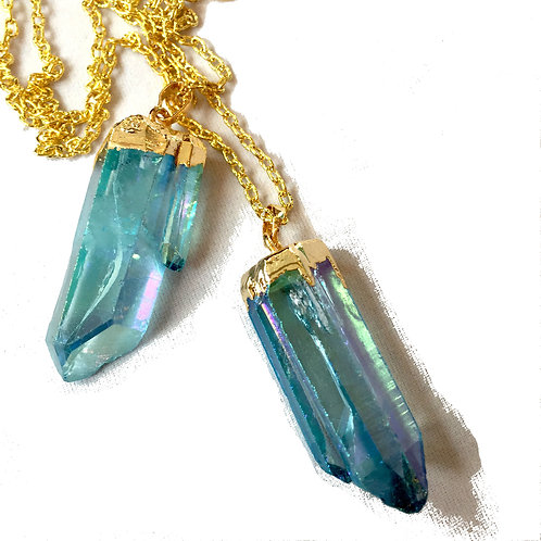 one of a kind, handmade, blue quartz crystal & gold plated necklace