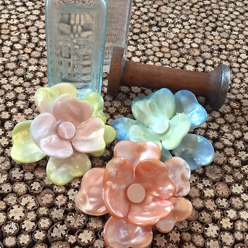 handmade faux mother of pearl pastel flower french hair clip