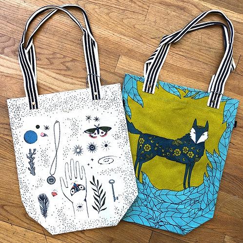 mystical cotton canvas tote & fox cotton canvas tote