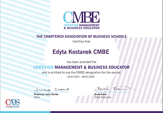 Certified Management & Business Educator certificate confirming recognition until July 2022