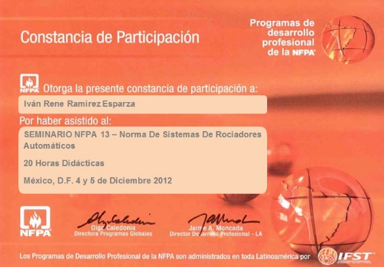 Cert NFPA 13