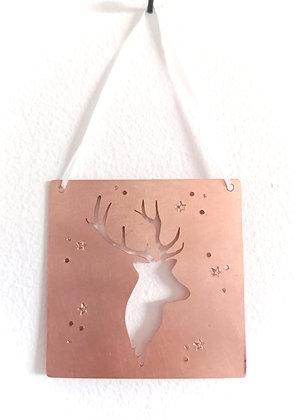 Hanging Copper Stag Christmas Decoration