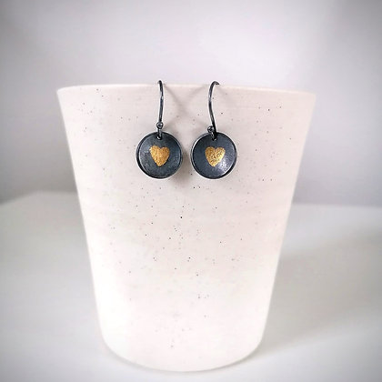 Black & Gold Heart Earrings