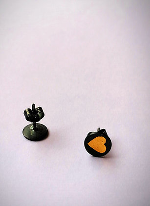 Black & Gold Heart Studs
