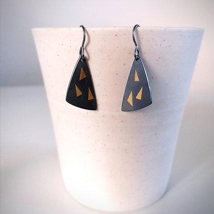 Black & Gold Shard Earrings