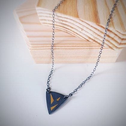 Black & Gold Small Triangle Necklace