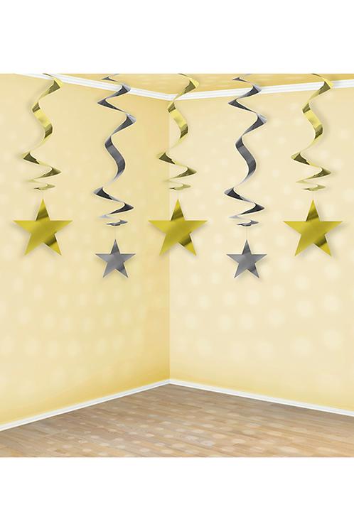 Spiralgirlande - 5er Set - Stars
