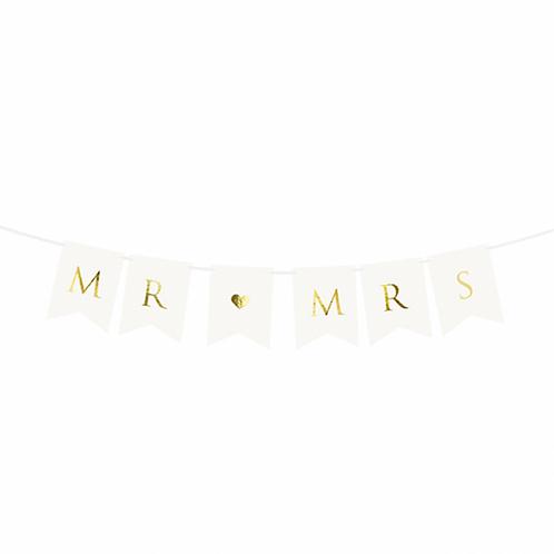 Bannergirlande - Mr & Mrs - Weiß